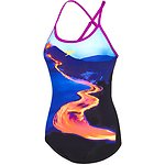 Image of Speedo Australia LAVA STRIPE/FLURO MAGENTA WOMEN'S LAVA STRIPE OPEN X BACK ONE PIECE
