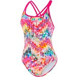 Image of Speedo Australia ELECTRICK PINK/TANG WMNS VIVID CHECK ELEVATE STRAPBACK ONE PIECE
