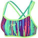 Image of Speedo Australia RAINBOW EUCALYPTUS/LASER GREEN/TILE WMNS RAINBOW EUCALYPTUS DOUBLE CROSSBACK CROP TOP