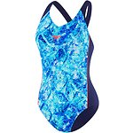 Image of Speedo Australia SPEEDO NAVY/HEXAGON WAVES WOMEN'S SPLICE ONE PIECE