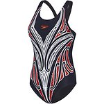 Image of Speedo Australia BLACK/SILVER WMNS HOUSE OF NATIVES LEADERBACK ONE PIECE