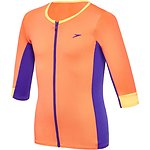 Image of Speedo Australia SIREN RED/ULTRAMARINE GIRLS ZIP UP 3/4 SLEEVE RASHIE