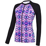 Image of Speedo Australia BLACK/KALEIDO WMNS ENDURANCE 10 ZIP UP LONG SLEEVE SUN TOP